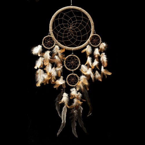Caught Dreams Dream Catcher ~ Handmade Traditional String Natural Color 8.5