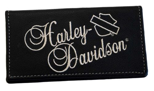 Harley-Davidson Women'S Embroidered Script Checkbook Cover Leather Fc806H-8