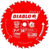 Freud D0724A Diablo 7-1/4-Inch 24 Tooth ATB Framing Saw Blade with 5/8-Inch and Diamond Knockout Arbor