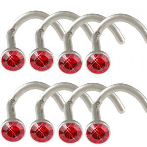 18g 18 gauge 1mm Light Siam Crystals Steel nose ring stud screw bone bar ACHX Body Piercing Jewellery 8Pcs