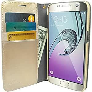 Galaxy S7 Wallet Case - Folio Wallet Case for Galaxy S7 by Silk - Protective Portfolio Cover with Foldable Kickstand (Platinum Gold)