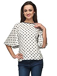 Vemero's Bell Sleeve Crepe Top (Large, White)