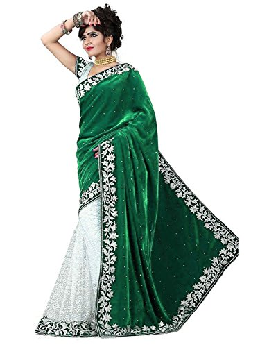 Clickedia Women Green and White Saree Of Velvet and Net With Attached Embroidered blouse Pc