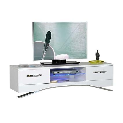 TV Lowboard in Hochglanz Weiß 160 cm breit Pharao24