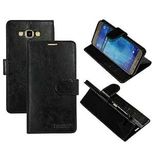 Casotec Premium PU Flip Case Cover with Snap Button Closure for Samsung Galaxy A8 - Black
