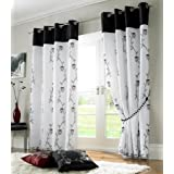 BLACK WHITE FULLY LINED CURTAINS 56 X 72