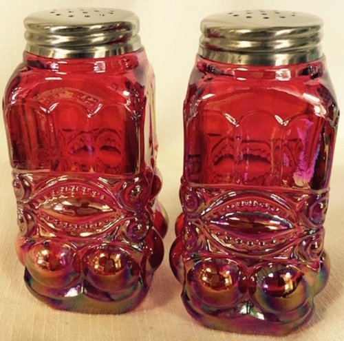 Salt & Pepper Shaker Set - Eyewinker - Mosser USA (Red Carnival) Crystal Carnival Glass