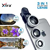 XTRA Universal Clip-On 3 in 1 Mobile Cell Phone Camera Lens Kit, 180 Degree Fisheye Lens + 0.67X Wide Angle + 10X Macro Lens, With Lens Clip Holder, Silver