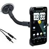 HTC Evo 4g Car Mount with Flexible Gooseneck - Vertical and Horizontal View + 3.5mm Aux Cable