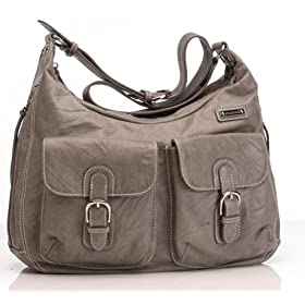 Emily Leather Diaper Bag in Taupe
