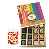 Valentine Chocholik Belgium Chocolates - Fantastic Admire Of White And Dark Chocolate Box With Love Mug
