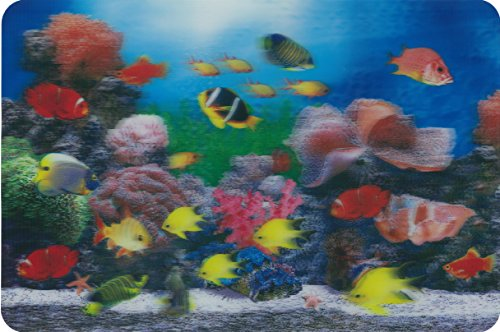 3D Tropical Fish Aquarium placemat (Qty 4) featuring Nemo the clownfish - FUN FOR KIDS Meals, Parties, Free TABLE PLACE SETTING GUIDE included