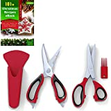 Kitchen Herb Shears (5 Blades) and Multi-purpose Kitchen Scissors Set, Red and Black, Stainless Steel, Plus Recipe Ebook