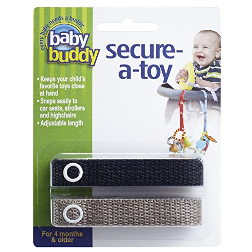 Baby Buddy 2 Count Secure-A-Toy, Black/Tan - 1