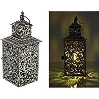 La Steela IronCrafted Square Candle Lantern With Handwork (15 Cm X 23 Cm X 43 Cm, Black)