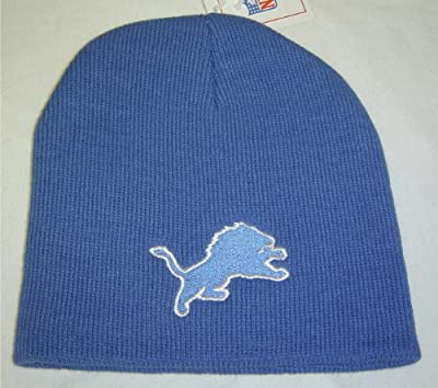 New! NFL Detroit Lions Cuffless Beanie Blue Embroidered Skull Cap