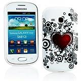 Kit Me Out DE TPU-Gel-Hülle für Samsung Galaxy Fame S6810 - Weiß / Rot / Schwarz Tattoo-Herz
