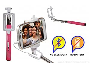 Selfie Stick Monopod With Wired Aux Cable Connectivity Compatible For Panasonic Lumix CM1 -Pink