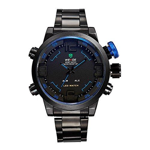 Kano Bak Multi-Function Stainless Metal 30M Waterproof Analog Multi-Function Led Digital Date Dual Display Quartz Gift Casual Sports Men Boy Watch Watches(Blue)