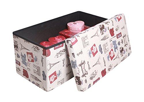 Home N Kitchenware Collection Premium Fabric Paris Design Theme Folding Ottoman Versatile Space saving Bench Footrest, Rectangular Shape 30