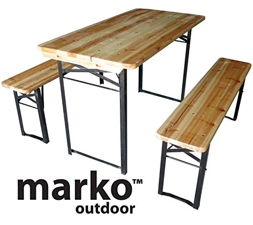 Marko Outdoor Wooden Folding Beer Table Bench Set Outdoor Garden Furniture  Steel Leg Trestle