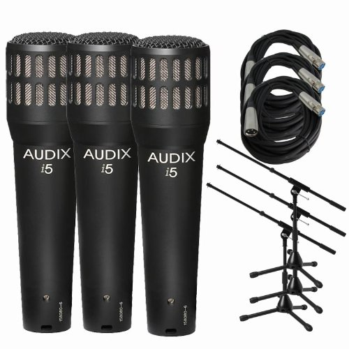 Audix I5 Dynamic Instrument Mic W/ Stands & Xlr Cables (3-Pack)