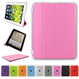 Besdata Ultra Thin Magnetic Smart Cover & Back Case For Apple iPad 2 / iPad 3 / iPad 4 - Pink - PT2604