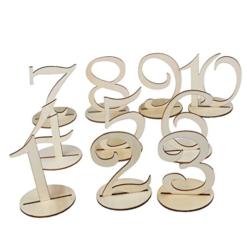 Tinksky Wooden Table Numbers with Holder Base for Wedding or Home Birthday Decoration, 1 to10, Pack of 10 (Wooden Numbers compare prices)