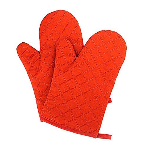 Guanti Da Forno, alta Temperatura Resistenti Guanti da Pot Barbecue Silicone Di Cottura Per Grigliate, Cucina, riparare e lavorare in sicurezza fino a 400℉ (Orange)