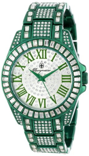 Burgmeister Bollywood Women's Quartz Watch with Silver Dial Analogue Display and Green Bracelet BM159-010B