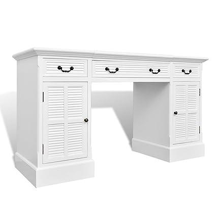 Festnight - Tavolo Scrivania bianca a piedistallo doppio con armadietti e cassetti da Ufficio Studio Casa