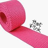 "1 Yard Cotton Webbing - 1 1/4"" Medium Heavy Weight - Hot Pink"
