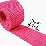 5 Yard Cotton Webbing – 1 1/4″ Medium Heavy Weight – Hot Pink