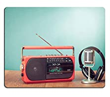 buy Luxlady Mousepads Retro Radio And Cassette Player Headphones Microphone Front Mint Background Image 23950167 Customized Art Desktop Laptop Gaming Mouse Pad