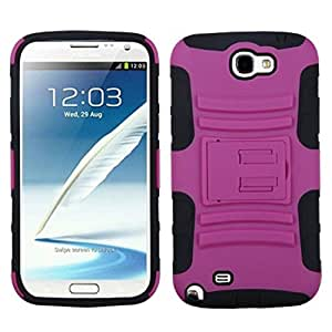 MYBAT ASAMGNIIHPCSAAS004NP Advanced Armor Rugged Durable Hybrid Case with Kickstand for Samsung Galaxy Note II - 1 Pack - Retail Packaging - Hot Pink/Black