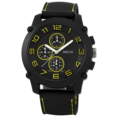 Breda Men's 8135Yellow Colton Black Bezel Yellow Accented Silicone Watch Picture