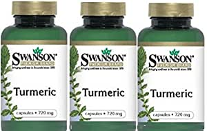 Swanson Turmeric Whole Root Powder, 720 mg, 100 Caps (3 Pack)