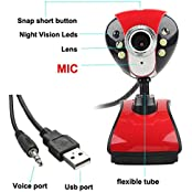 USB 50M 6 LED Night Vision Webcam Camera Web Cam W Mic Clip For PC Laptop Skype