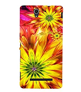 Bright Yellow Pattern 3D Hard Polycarbonate Designer Back Case Cover for Sony Xperia C3 Dual :: Sony Xperia C3 Dual D2502