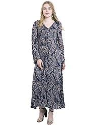 KASHANA Rayon Crepe Black Gray Paisley Printed Summer Dress For Women Girls Ladies