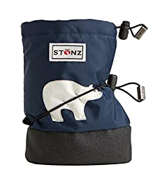 Stonz Three Season STAY-On Baby Booties, For Bare Feet or Shoes, For Mild or Cold Snow Weather, Polar Bear - Navy Blue Medium