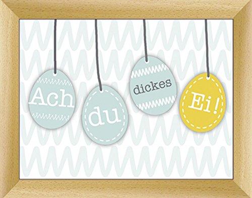 Bild mit Rahmen Kunstdruck Bilder Artland Schrift Jule: Bunte Ostereier-Kette in verschiedenen Größen Riesenauswahl in unsrem Händlershop!