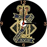 BRITISH ARMY 13th 18th ROYAL HUSSARS REGIMENTAL INSIGNIA BADGE CREST * A CD/DVD (12 cm diameter) SIZED NOVELTY CD QUARTZ WALL CLOCK WITH FREE BATTERY AND DESK STAND * CAN BE PERSONALISED