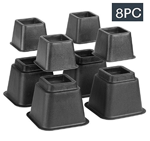 Bed Risers, Adjustable Heavy Duty, 8 Piece Set, 3 Part 57