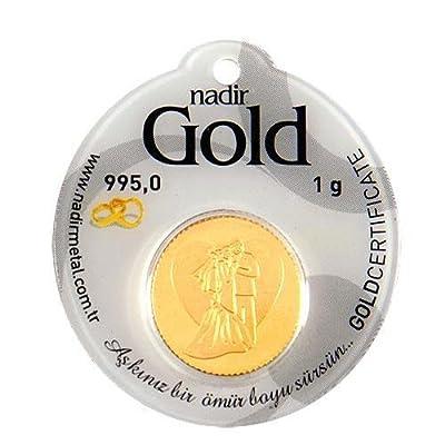 Nadir Rundbarren Goldbarren Goldgeschenke Hochzeitsgeschenke, 1 Gramm Gold mit Geschenkbeutel
