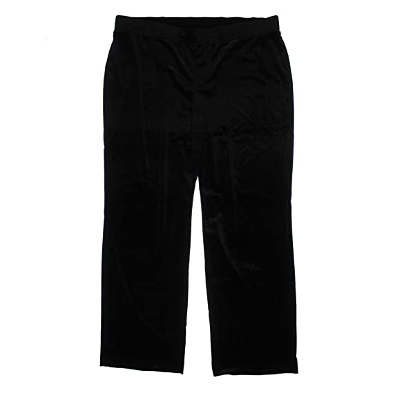 NY Collection Womens Plus Velvet Straight Leg Casual Pants