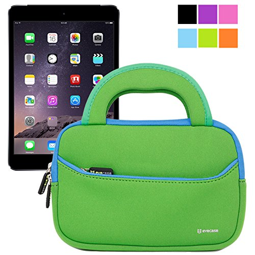 Evecase Ultraportable Handle Carrying Portfolio Neoprene Sleeve Case Bag For Apple Ipad Mini 3 / Ipad Mini 2 With Retina Display / Ipad Mini 1St - Green