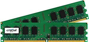 Crucial 4GB Kit (2GBx2) DDR2 800MHz (PC2-6400) CL6 Unbuffered UDIMM 240-Pin Desktop Memory CT2KIT25664AA800 / CT2CP25664AA800