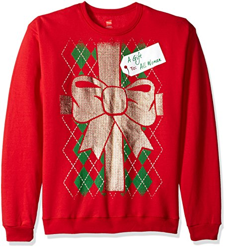 Hanes Men's Ugly Christmas Sweatshirt, Barbados Red Gift to Women, S