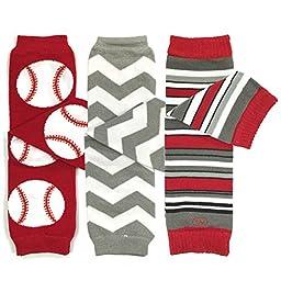 Bowbear Baby 3-Pair Leg Warmers, Ball Game